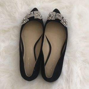 aa70c6dfc63a Ann Taylor Shoes - Ann Taylor 'Camila' Jeweled Bow Suede Flats